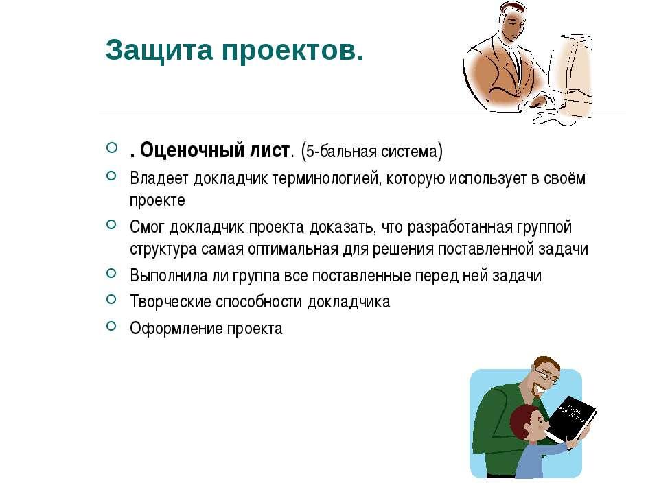Защита проектов. . Оценочный лист. (5-бальная система) Владеет докладчик терм...