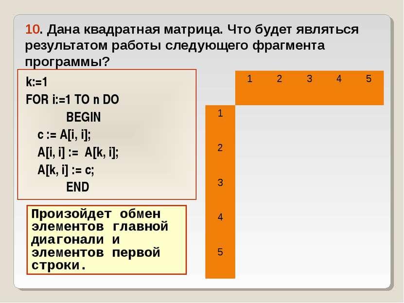 10. Дана квадратная матрица. Что будет являться результатом работы следующего...