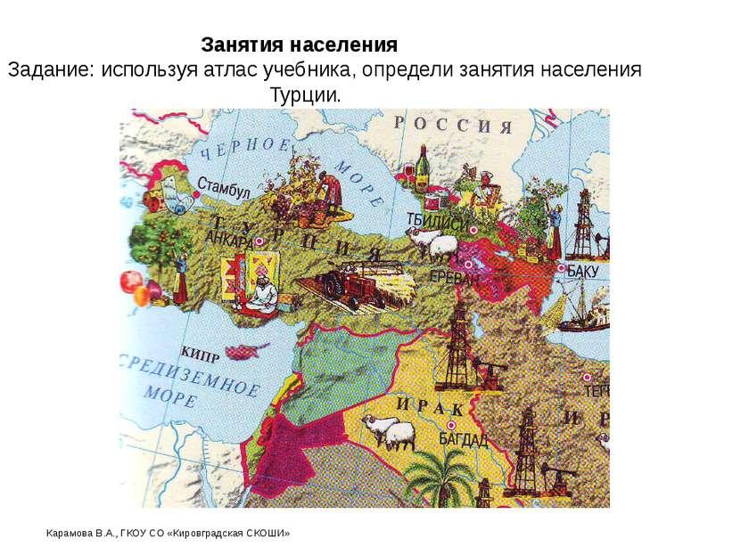 Занятия населения Задание: используя атлас учебника, определи занятия населен...
