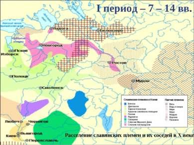 Расселение славянских племен иихсоседей вXвеке I период – 7 – 14 вв.