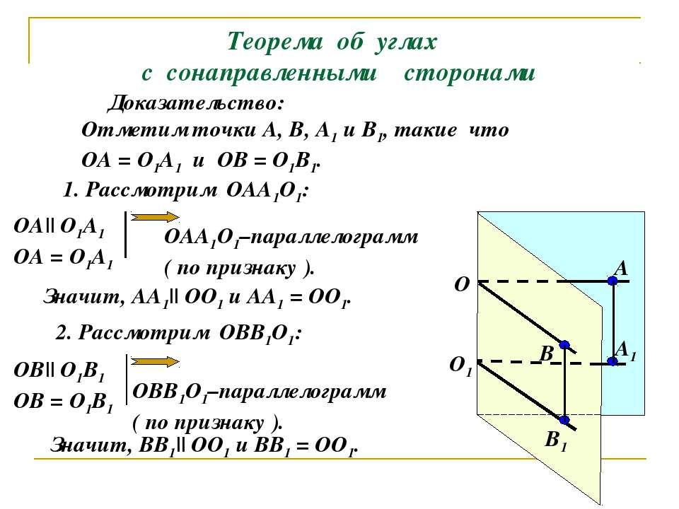 Теорема об углах с сонаправленными сторонами О1 О А1 В1 В А Доказательство: О...