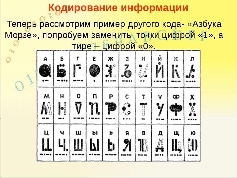 Кодирование информации Теперь рассмотрим пример другого кода- «Азбука Морзе»,...