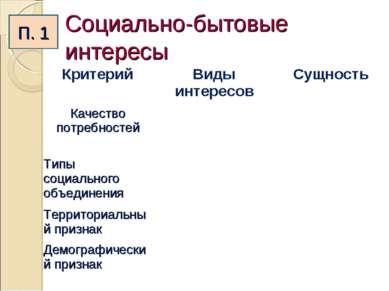 Социально-бытовые интересы П. 1 Критерий Виды интересов Сущность Качество пот...