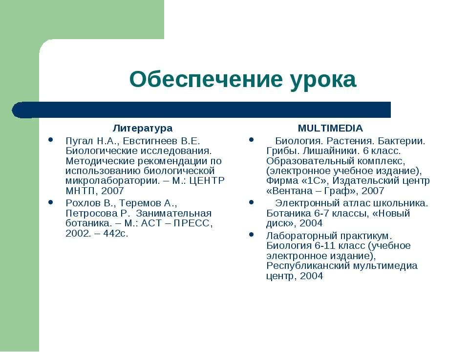 Обеспечение урока Литература Пугал Н.А., Евстигнеев В.Е. Биологические исслед...