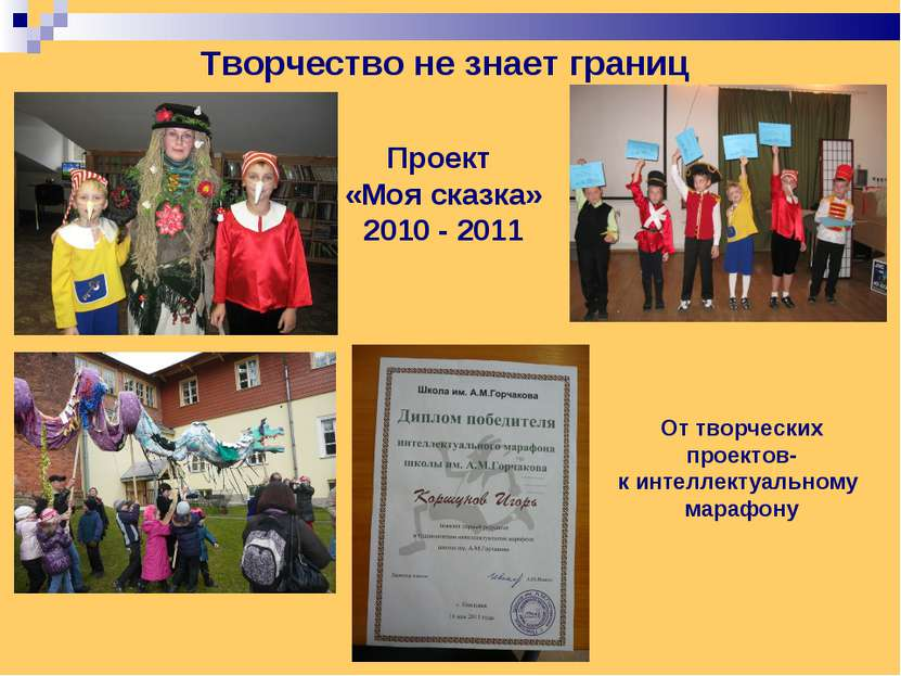 Проект «Моя сказка» 2010 - 2011 Творчество не знает границ От творческих прое...