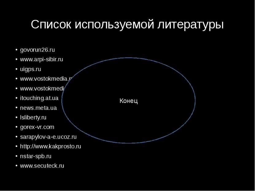 Список используемой литературы govorun26.ru www.arpi-sibir.ru uigps.ru www.vo...