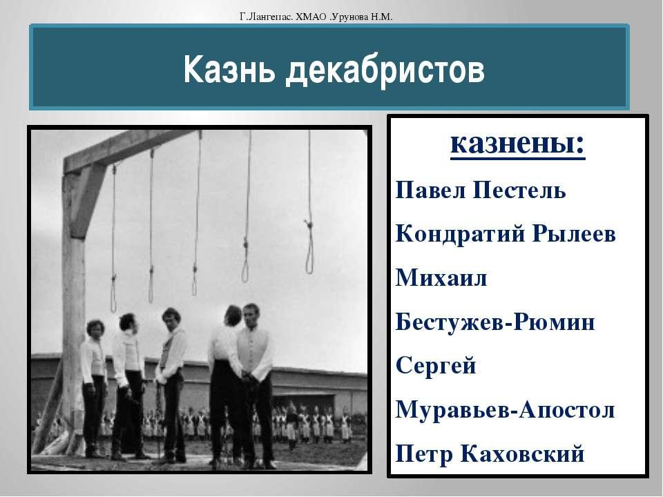 Казнь декабристов казнены: Павел Пестель Кондратий Рылеев Михаил Бестужев-Рюм...