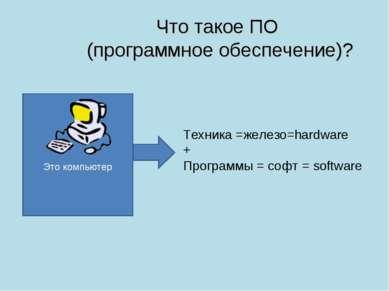 Что такое ПО (программное обеспечение)? Это компьютер Техника =железо=hardwar...
