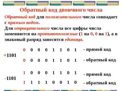 Дополнительный код для положительного числа совпадает с прямым кодом. Дополни...