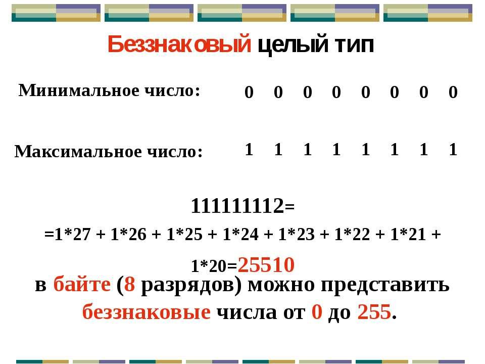 Диапазон допустимых значений для беззнаковых типов: от 0 до 2k – 1, где k – к...