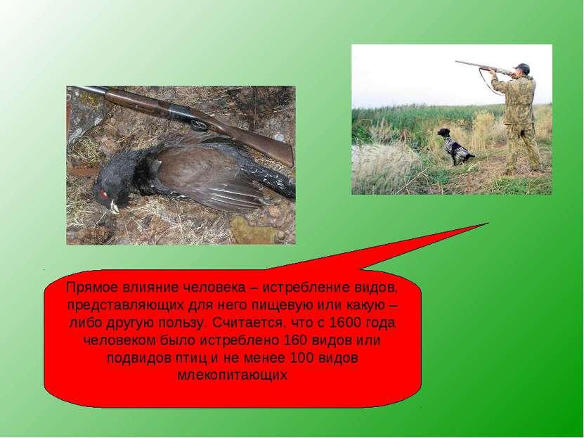 Прямое влияние человека – истребление видов, представляющих для него пищевую ...