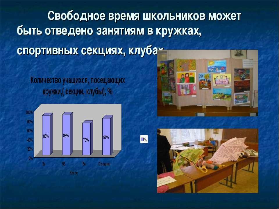 Свободное время школьников может быть отведено занятиям в кружках, спортивных...