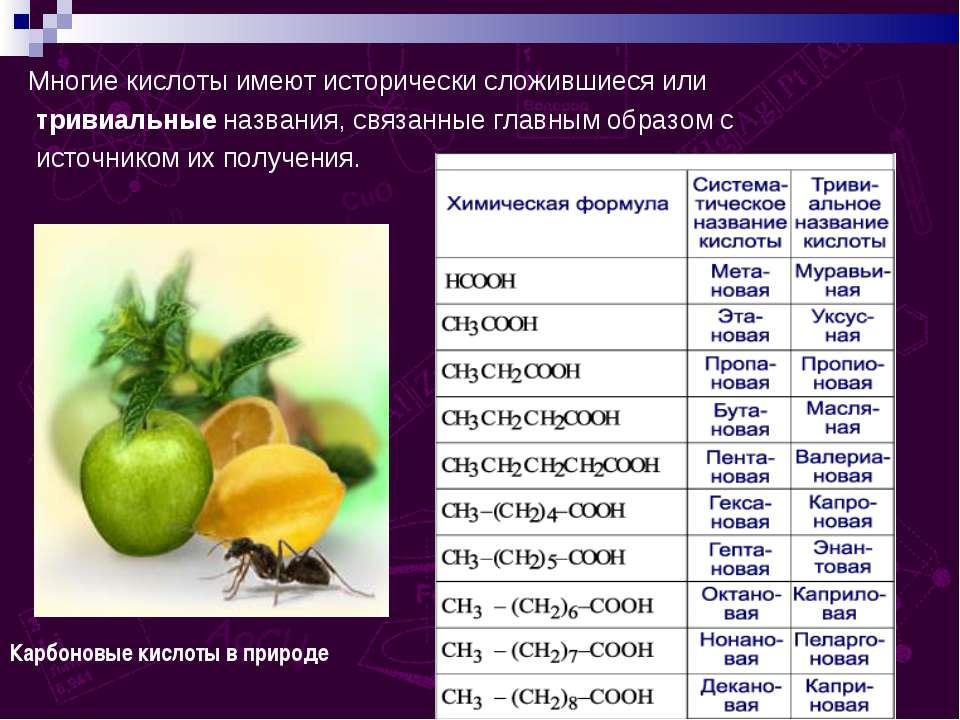 Многие кислоты имеют исторически сложившиеся или тривиальные названия, связан...