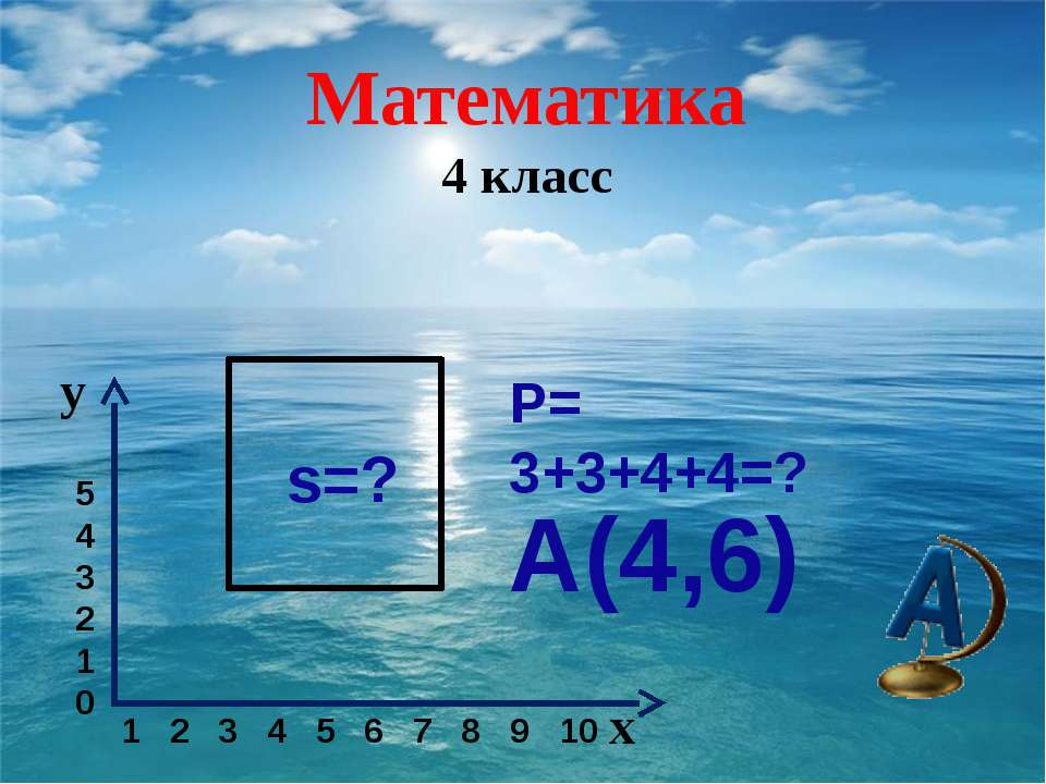 Р= 3+3+4+4=? s=? А(4,6) Математика 4 класс y x 5 4 3 2 1 0 1 2 3 4 5 6 7 8 9 10