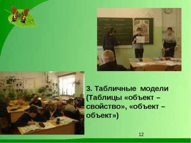 3. Табличные модели (Таблицы «объект – свойство», «объект – объект»)