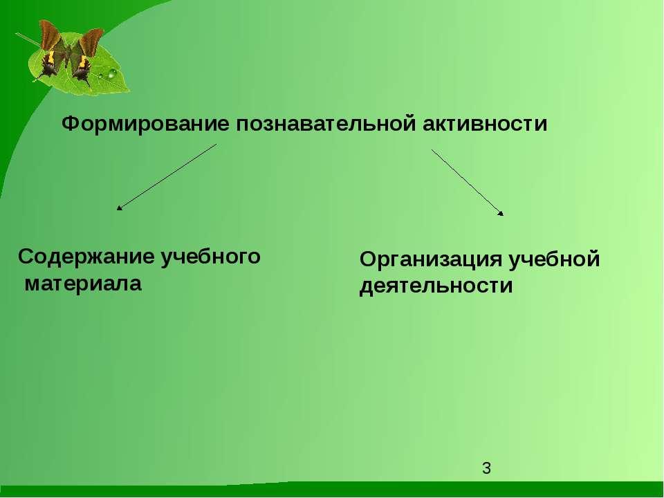 Формирование познавательной активности Содержание учебного материала Организа...