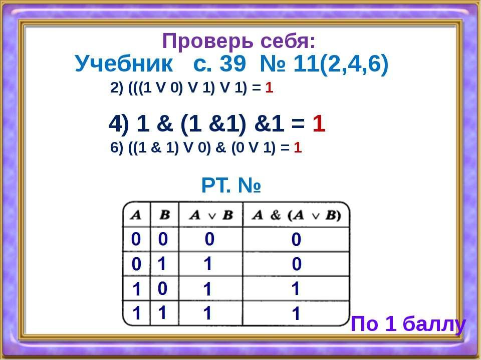 Проверь себя: Учебник с. 39 № 11(2,4,6) 2) (((1 V 0) V 1) V 1) = 1 4) 1 & (1 ...