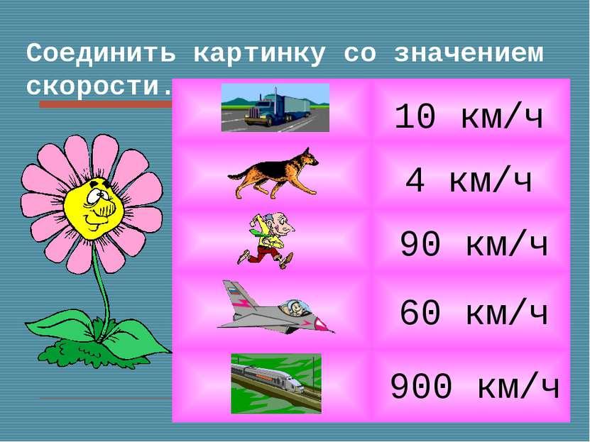Соединить картинку со значением скорости. 4 км/ч 10 км/ч 900 км/ч 90 км/ч 60 ...