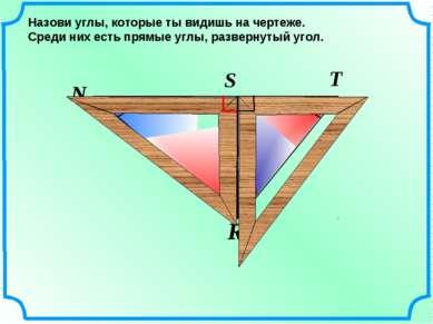 N R T S Назови углы, которые ты видишь на чертеже. Среди них есть прямые углы...