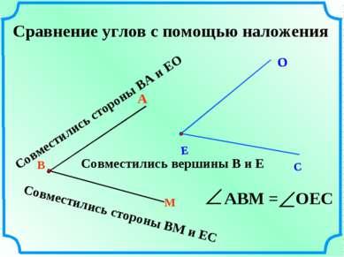 Сравнение углов с помощью наложения В М А Совместились вершины В и Е Совмести...