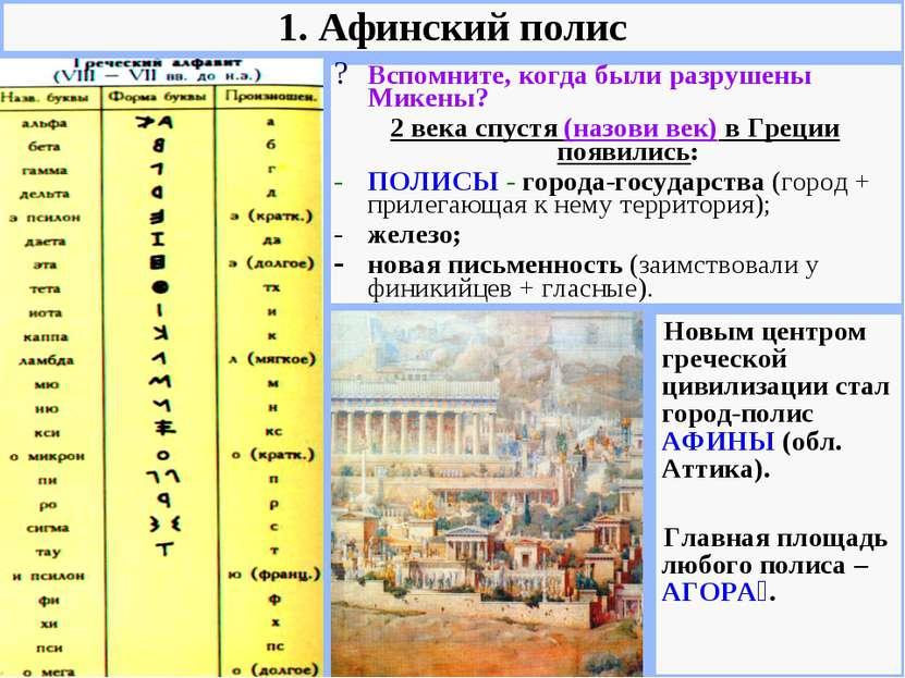 Вспомните, когда были разрушены Микены? 2 века спустя (назови век) в Греции п...