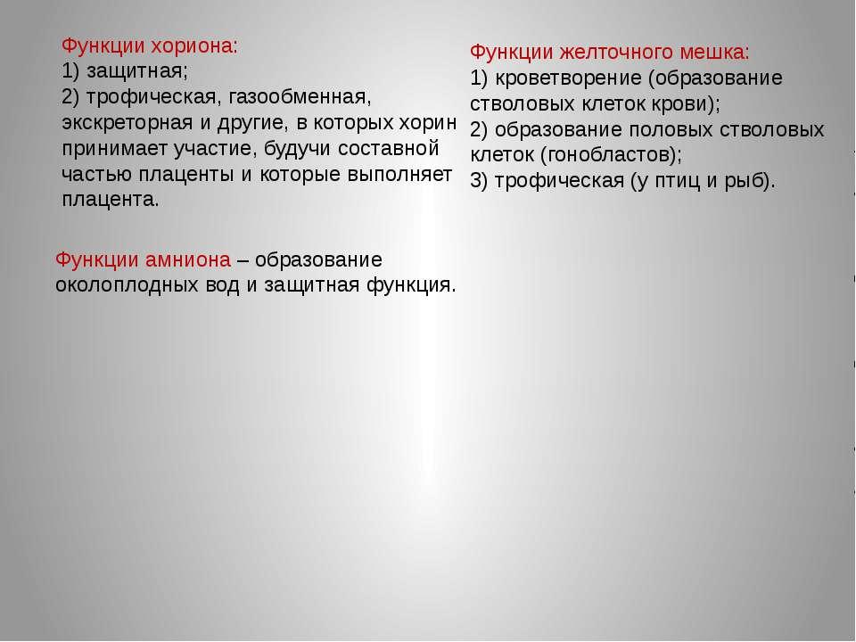 Функции хориона: 1) защитная; 2) трофическая, газообменная, экскреторная и др...
