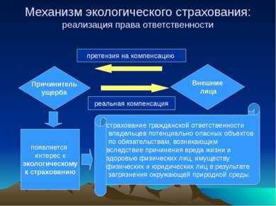 Причинитель ущерба Внешние лица Механизм экологического страхования: реализац...