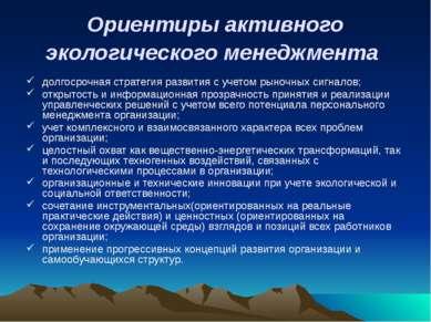 Ориентиры активного экологического менеджмента долгосрочная стратегия развити...
