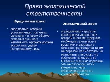 Право экологической ответственности Юридический аспект свод правил, который у...