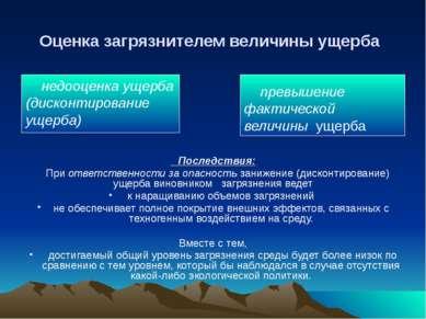 Оценка загрязнителем величины ущерба недооценка ущерба (дисконтирование ущерб...