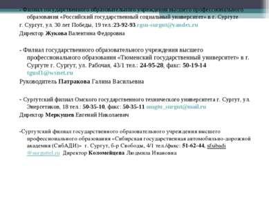 - Филиал государственного образовательного учреждения высшего профессионально...
