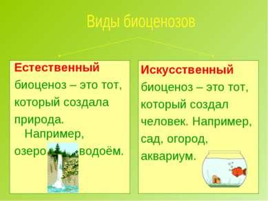 Естественный биоценоз – это тот, который создала природа. Например, озеро, ле...