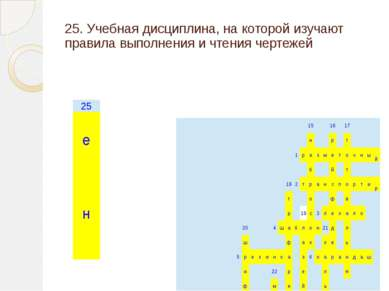 25. Учебная дисциплина, на которой изучают правила выполнения и чтения чертеж...
