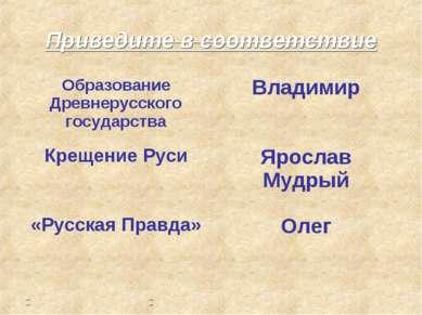 Приведите в соответствие Образование Древнерусского государства Владимир Крещ...
