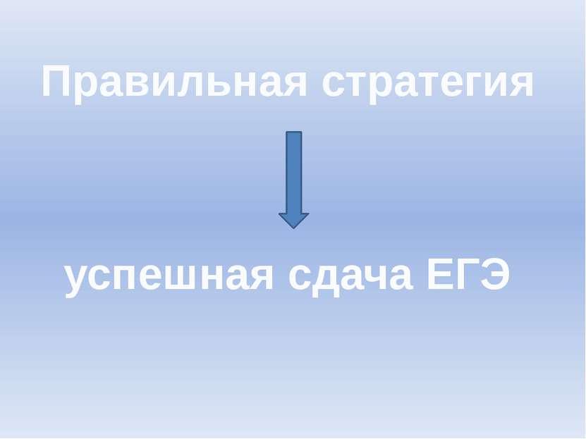 Правильная стратегия успешная сдача ЕГЭ