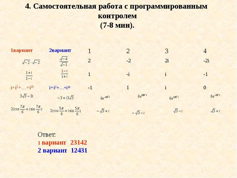 4. Самостоятельная работа с программированным контролем (7-8 мин). Ответ: 1 в...