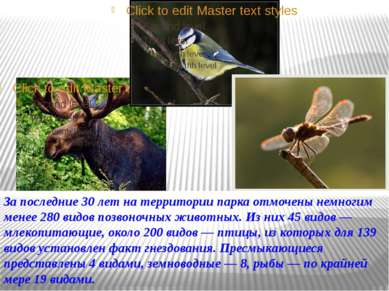 За последние 30 лет на территории парка отмочены немногим менее 280 видов поз...