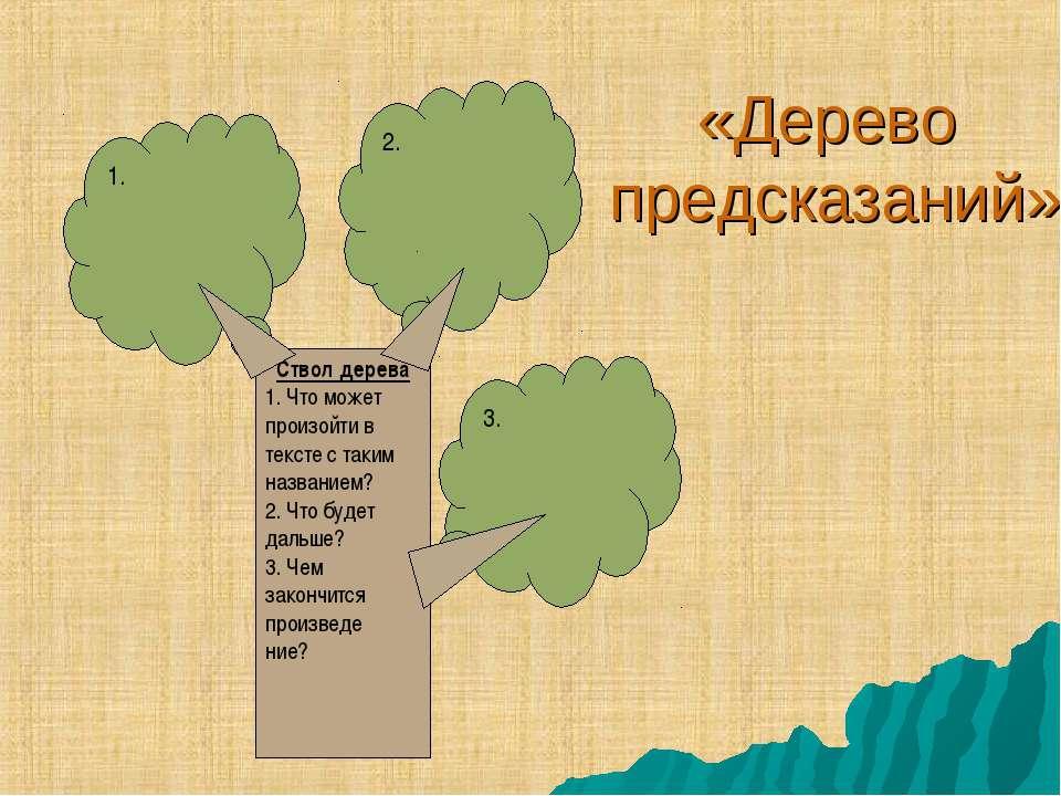 «Дерево предсказаний» Ствол дерева 1. Что может произойти в тексте с таким на...