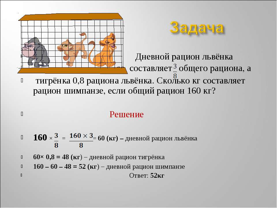 Дневной рацион львёнка со составляет общего рациона, а тигрёнка 0,8 рациона л...