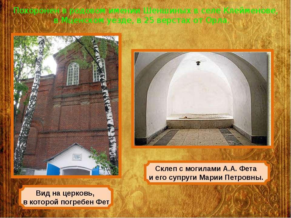 Похоронен в родовом имении Шеншиных в селе Клейменове, в Мценском уезде, в 25...