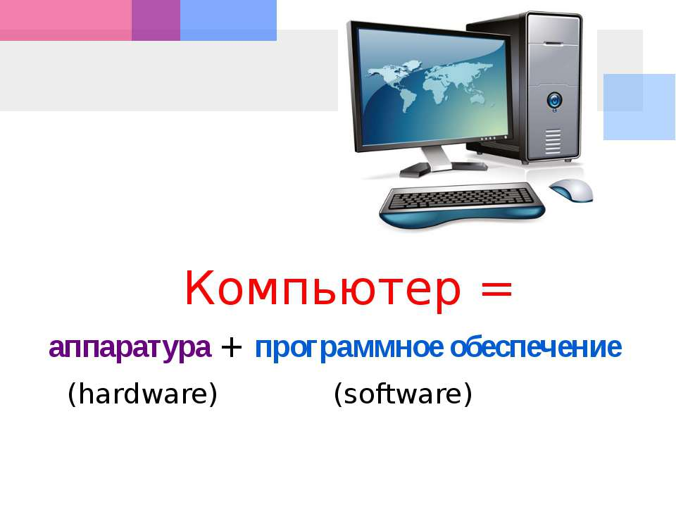 Компьютер = аппаратура + программное обеспечение (hardware) (software)