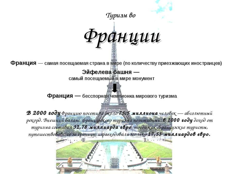Туризм во Франции Франция — самая посещаемая страна в мире (по количеству при...