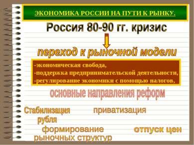 ЭКОНОМИКА РОССИИ НА ПУТИ К РЫНКУ. -экономическая свобода, -поддержка предприн...