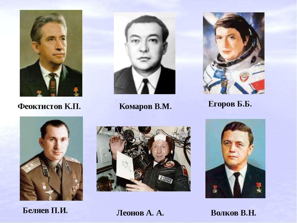 Егоров Б.Б. Комаров В.М. Феоктистов К.П. Беляев П.И. Леонов A. А. Волков В.Н.