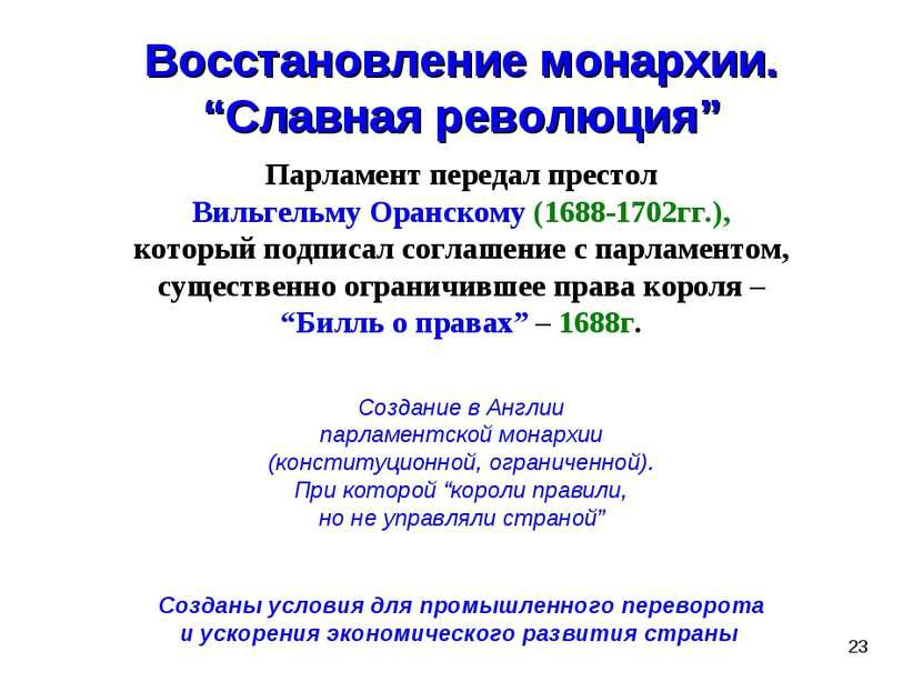 """* Восстановление монархии. """"Славная революция"""" Парламент передал престол Виль..."""