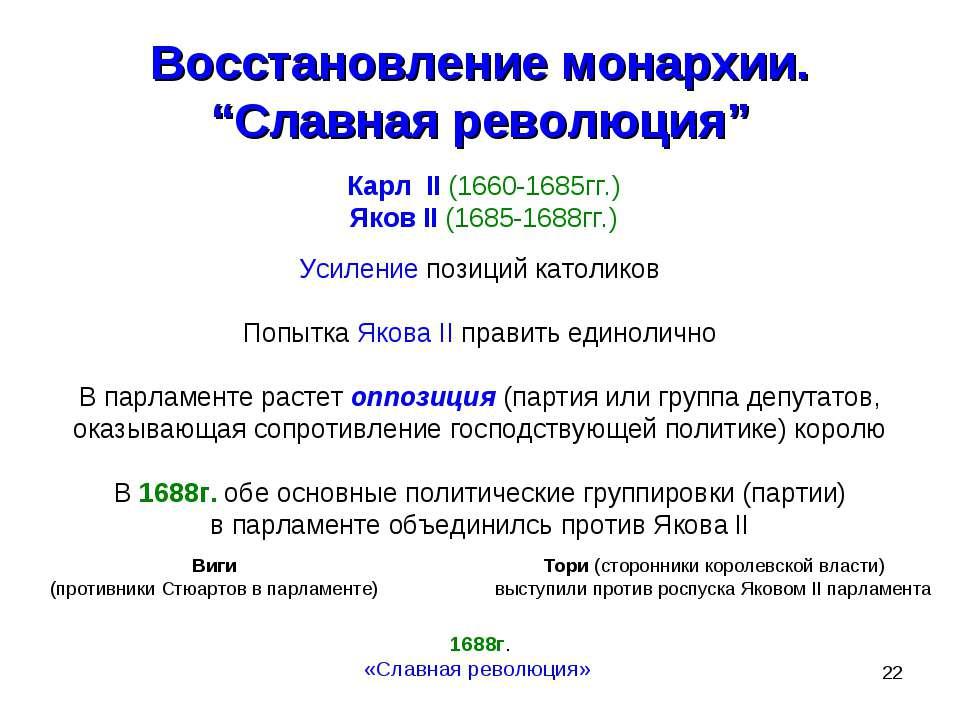 """* Восстановление монархии. """"Славная революция"""" Карл II (1660-1685гг.) Яков II..."""
