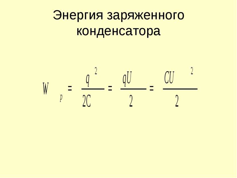 Энергия заряженного конденсатора