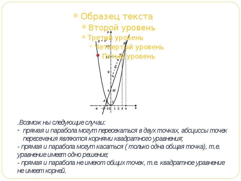 .Возможны следующие случаи: прямая и парабола могут пересекаться в двух точка...