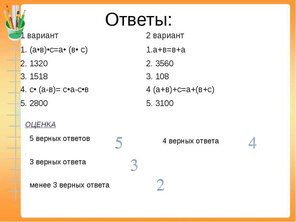 Ответы: ОЦЕНКА 5 верных ответов 3 верных ответа 4 верных ответа менее 3 верны...
