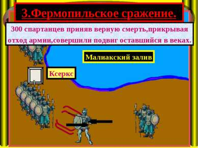 3.Фермопильское сражение. Малиакский залив Ксеркс 300 спартанцев приняв верну...